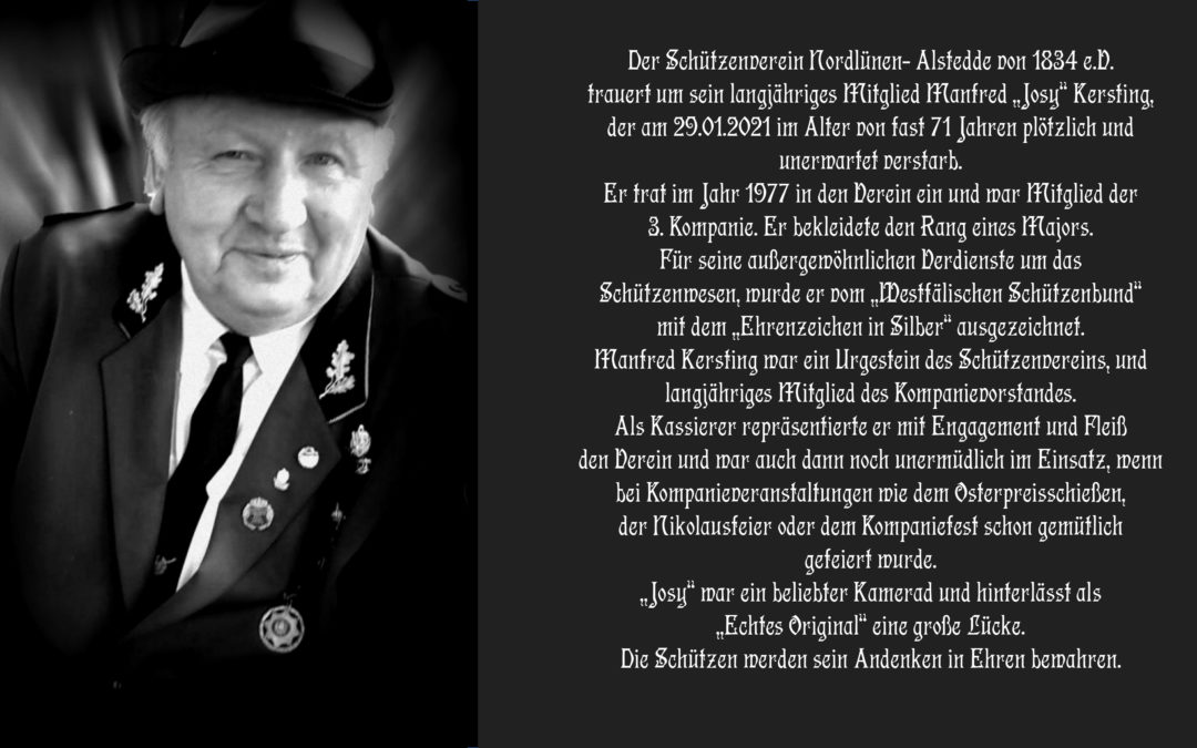 """Trauer um langjähriges Mitglied Manfred """"Josy"""" Kersting"""
